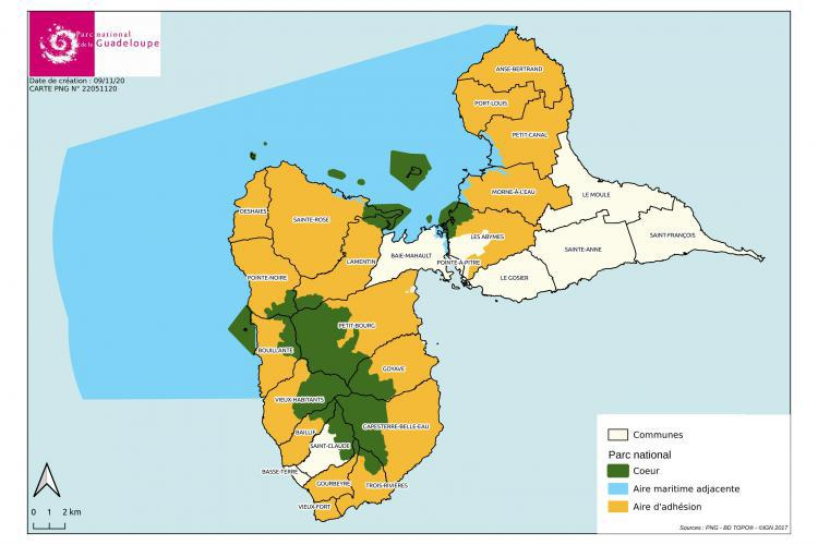 Carte de l'aire optimale d'adhésion du Parc national © DR Parc national de la Guadeloupe